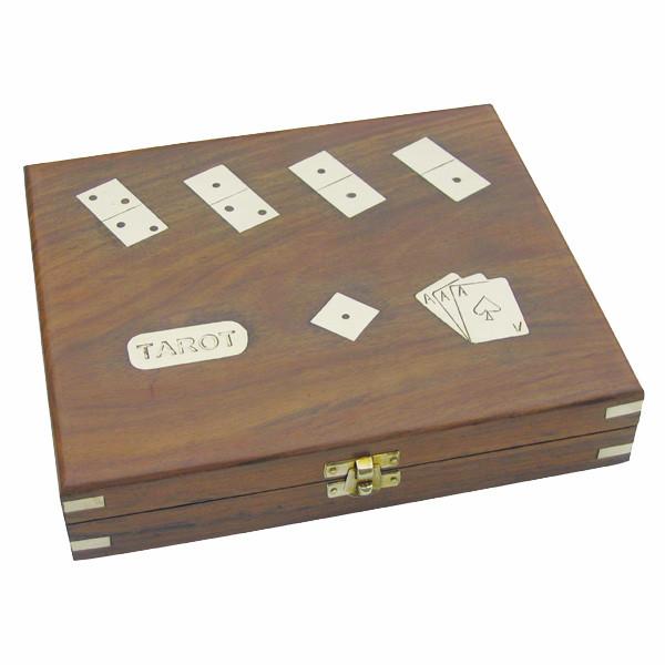 Tarot, Romme, Würfel & Domino in der Holzbox, inklusive Spielkarten, 24x21x5cm