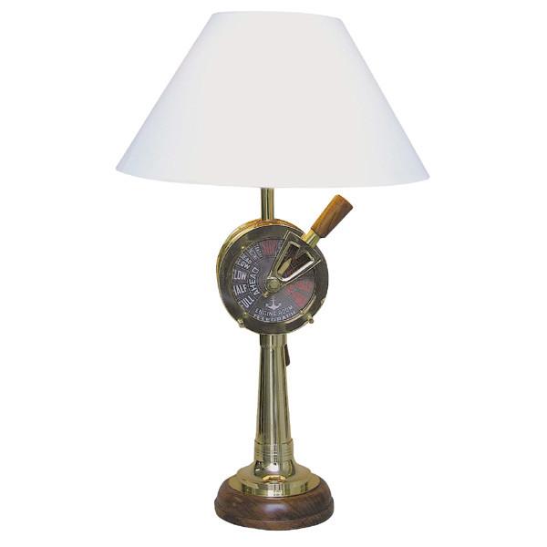 Lampe - Maschinentelegraf, elektrisch 230V, E14, Messing/Holz, H: 59cm, Ø: 15/35cm