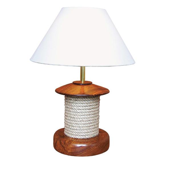 Lampe mit Tau, Holz, elektrisch 230V, E14, H: 47cm, Ø: 20/35cm