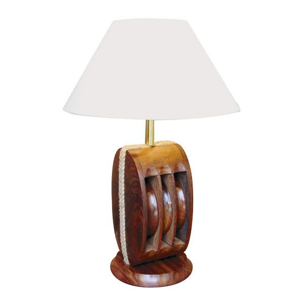 Lampe - Blockrolle, Holz, elektrisch 230V, E14, H: 52cm, Ø: 18/35cm