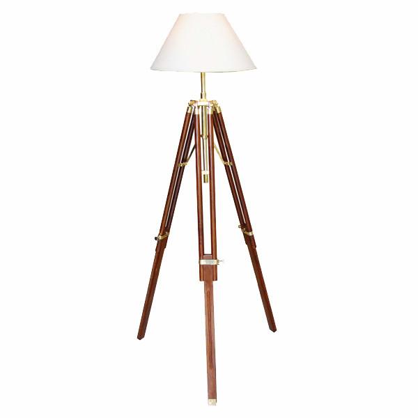 Stativ-Lampe, Holz/Messing, elektrisch 230V, E14, H: 123/146cm, Ø: 35cm