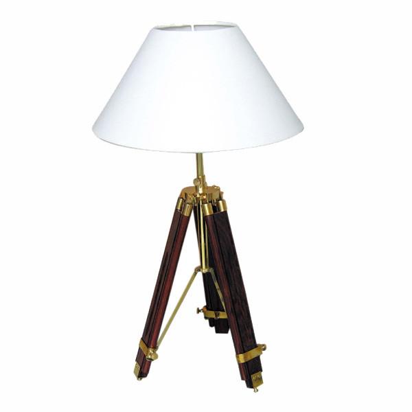 Stativ-Lampe, Holz/Messing, elektrisch 230V, E14, H: 55/94cm, Ø: 35cm