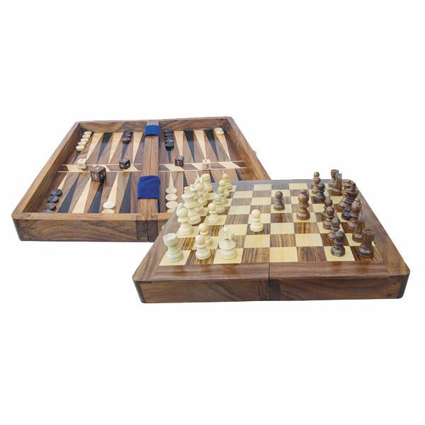 Spiel - Schach & Backgammon, Holz, aufgeklappt: 25,5x25,5x2,2cm