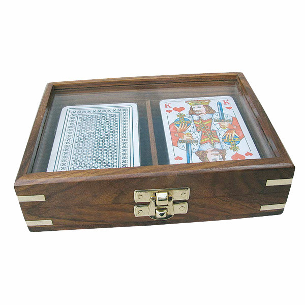 Spielkartenbox, Holz mit Glasdeckel, inklusive doppeltes Kartenspiel, 16x11,5x4cm
