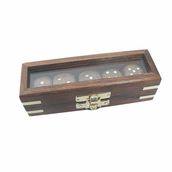 Würfelbox, Holz mit Glasdeckel, 5 Würfel, 12,5x4x3,5cm
