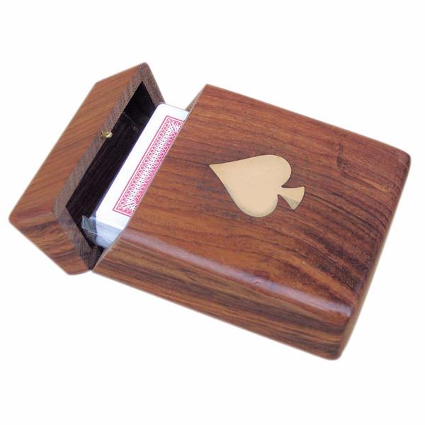 Kartenbox mit Klappdeckel, Holz, 11x7,5x3,5cm