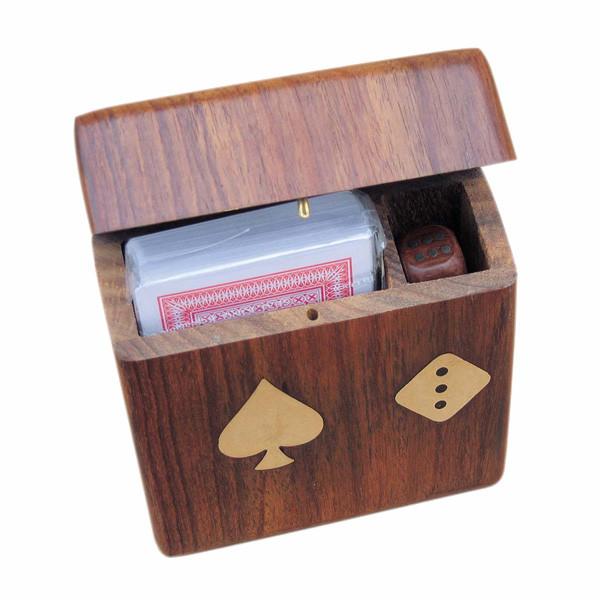 Karten-Würfel-Box mit Klappdeckel, Holz, 11x10x3,5cm