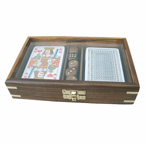 Karten-Würfel-Box mit Glassichtfenster im Deckel, Holz, 18x11,5x4cm