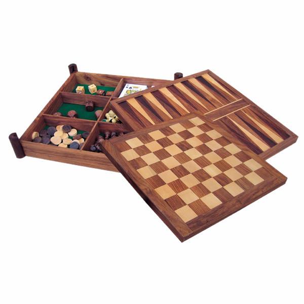 Spiele-Box mit Schach, Backgammon, Dame, Würfel, Karten & Tarot, Holz, 32x32x6cm