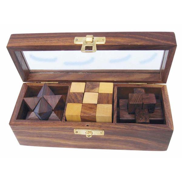 3 Knobelspiele in der Box mit Glasdeckel, Holz, 17,5x6,5x6cm
