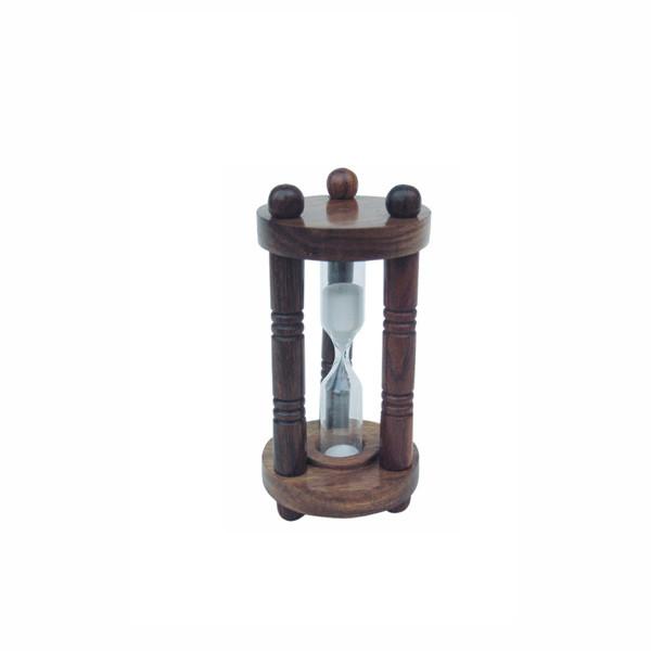 Sanduhr, 3 Säulen, Holz, ca. 3min., H: 10,5cm, Ø: 5cm