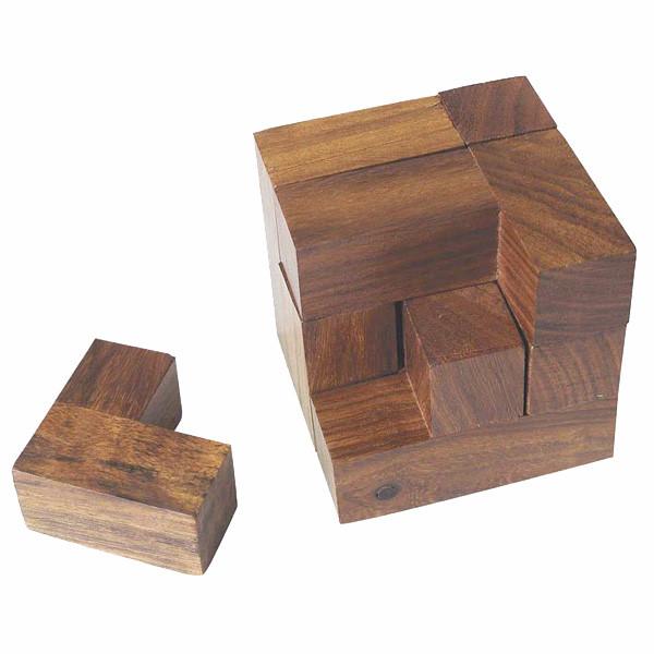 Knobelspiel, 7 Teile, Holz, 6x6x6cm