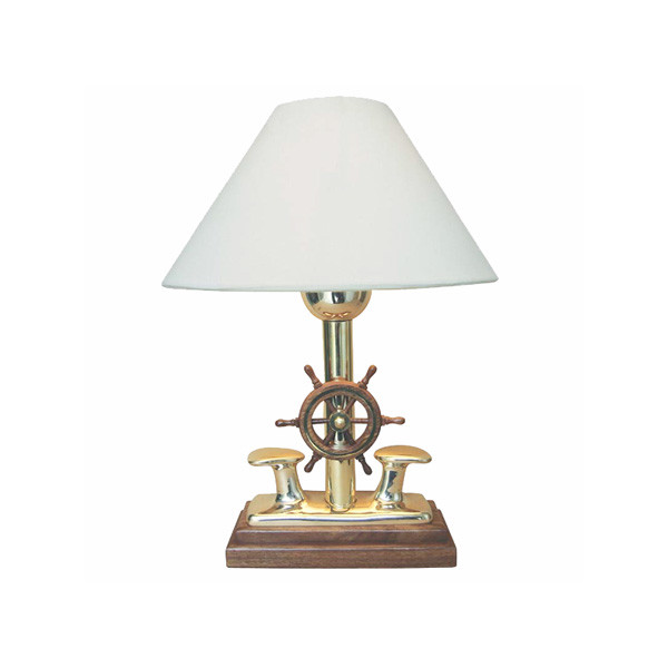 Lampe - Poller mit Steuerrad, elektrisch 230V, E14, Messing/Holz, H: 35cm, Ø: 25cm