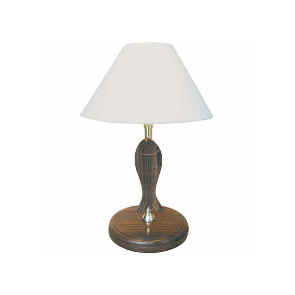 Lampe - Fisch, elektrisch 230V, E14, Holz/Messing, H: 37cm, Ø: 17,5/25cm
