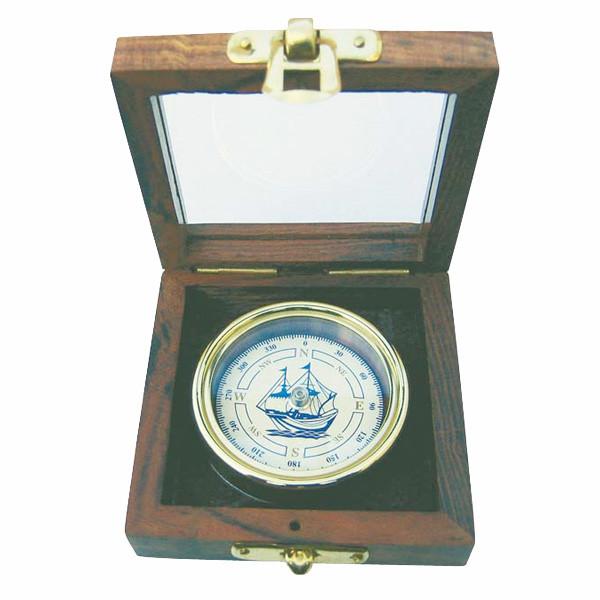 Kompass mit Schiffs-Windrose, Messing, Ø: 5,5cm, in Holzbox mit Glasdeckel, 8,5x8,5x3,5cm