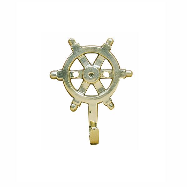 Schlüsselhaken - Steuerrad, Messing, 5,5x7,5cm