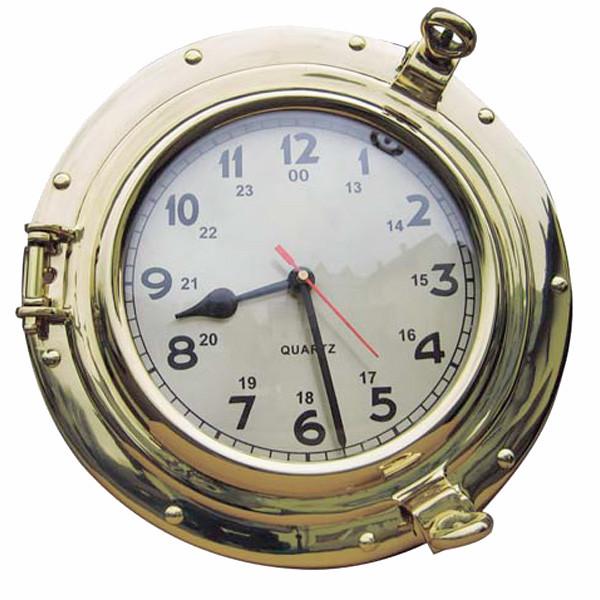 Uhr im Bullauge, Quartzwerk, Messing, Ø: 18/28,5cm