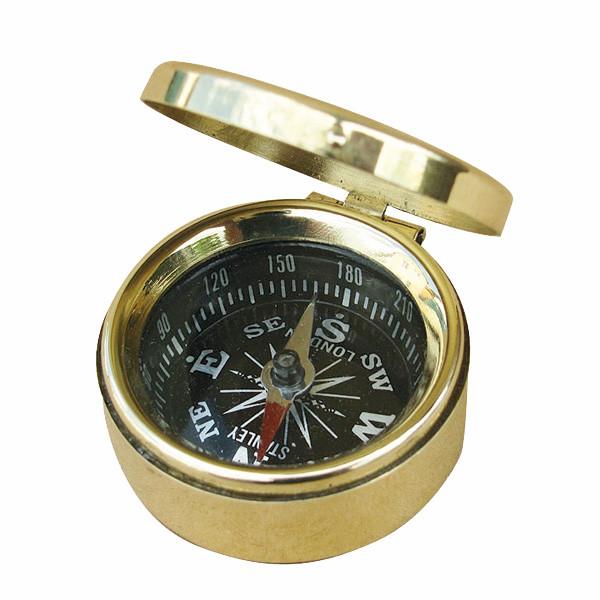 Kleiner Kompass mit Deckel, Messing, Ø: 3,5cm