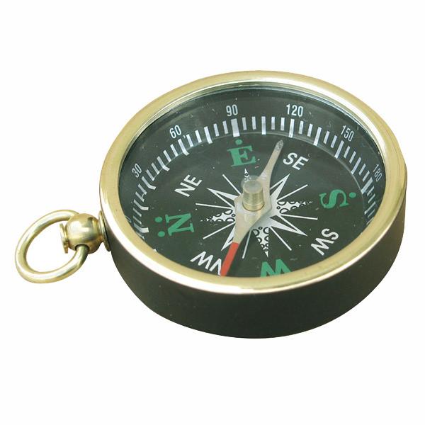 Kompass, mit Ring, Messing schwarz lackiert, Ø: 4,5cm