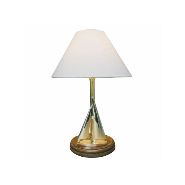 Lampe - Segelyacht, elektrisch 230V, E14, Messing/Holz, H: 38cm, Ø: 15/25cm