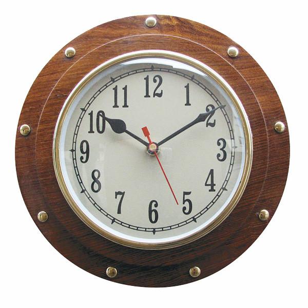 Uhr im Bullauge, Holz/Messing, Quartzwerk, Ø: 23/15cm