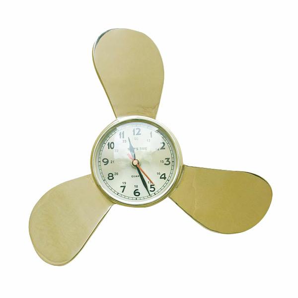 Uhr in der Schiffsschraube, Messing, Quartzwerk, Ø: 28/9,5cm, H: 6,5cm