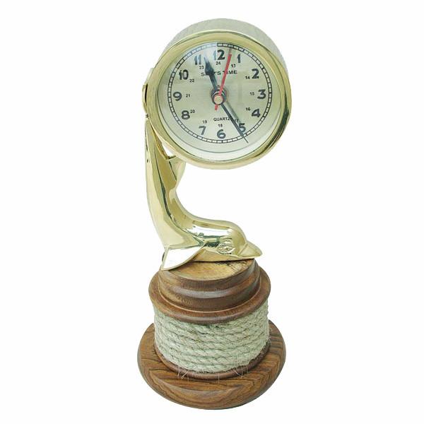 Delfin-Uhr, Messing auf Holzsockel, Ø: 8,5cm, H: 25,5cm