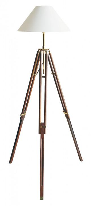 Stativ-Lampe, Holz/Messing, elektrisch 230V, E14, H: 166/187cm, Ø: 50cm