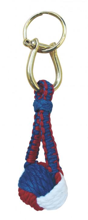 Schlüsselanhänger - Affenfaust, Baumwolle/Messing, rot/weiß/blau