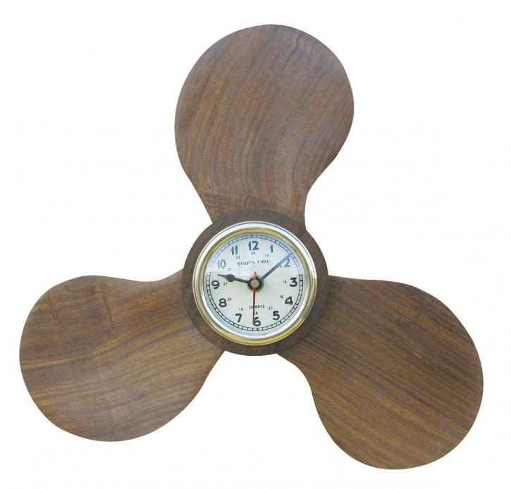 Uhr in der Schiffsschraube, Holz, Quartzwerk, Ø: 28/7cm, H: 4cm