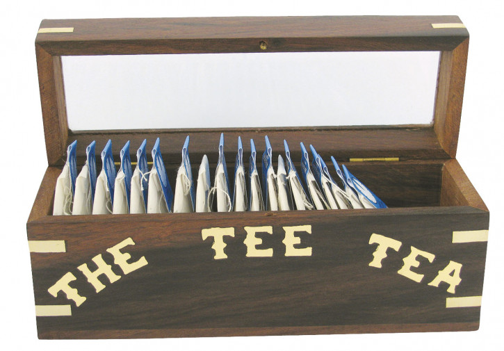 Teebeutel-Box, Holz mit Glasdeckel, 18x6x8cm, für lose Teebeutel
