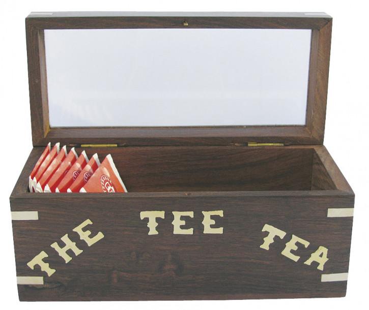 Teebeutel-Box, Holz mit Glasdeckel, 18x8x9cm, für einzeln verpackte Teebeutel