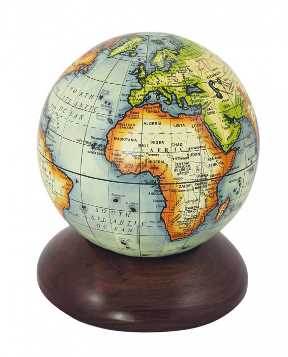 Globus auf Holzsockel, H: 12,5cm, Ø: 10cm