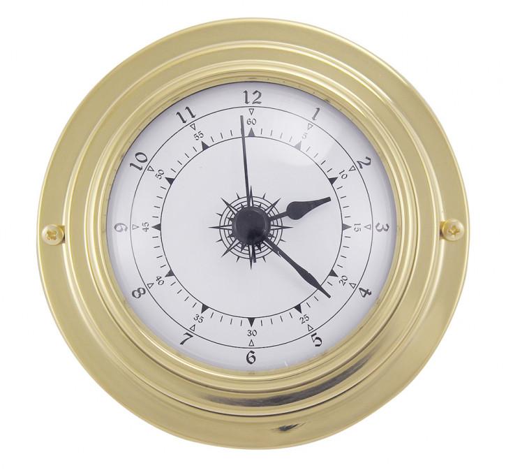 Uhr, Messing, mit Quartzwerk, Ø: 9,8/6,3cm, H: 3cm