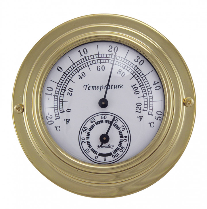 Thermo-/Hygrometer, Messing, Ø: 9,8/6,3cm, H: 3cm