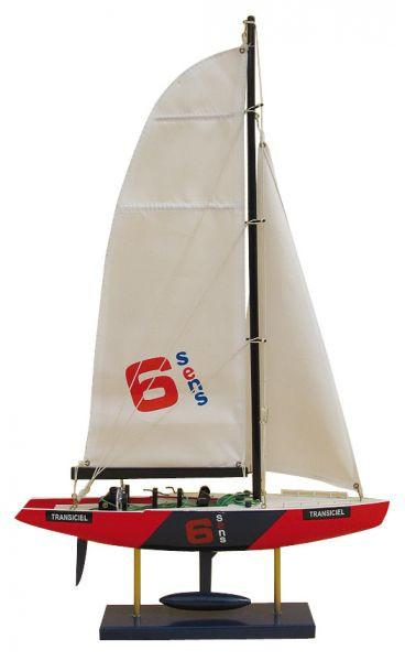 America's Cup-Segler - TRANSICIEL, Holz mit Stoffsegel, L: 34cm, H: 56cm