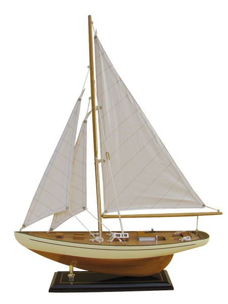Segel-Yacht, Holz mit Stoffsegel, L: 40cm, H: 54cm