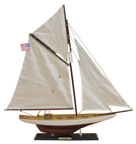 Segel-Yacht - COLUMBIA, Holz mit Stoffsegel, L: 59cm, H: 60cm