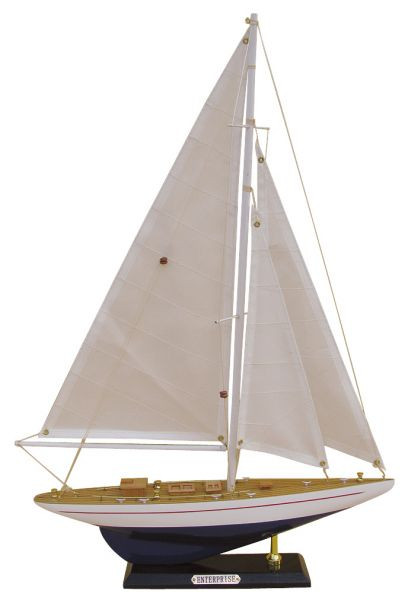 Segel-Yacht - ENTERPRISE, Holz mit Stoffsegel, L: 32cm, H: 49cm