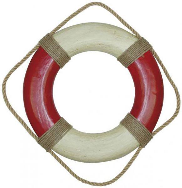 Rettungsring, rot/creme, Styropor bemalt, Ø: 49cm