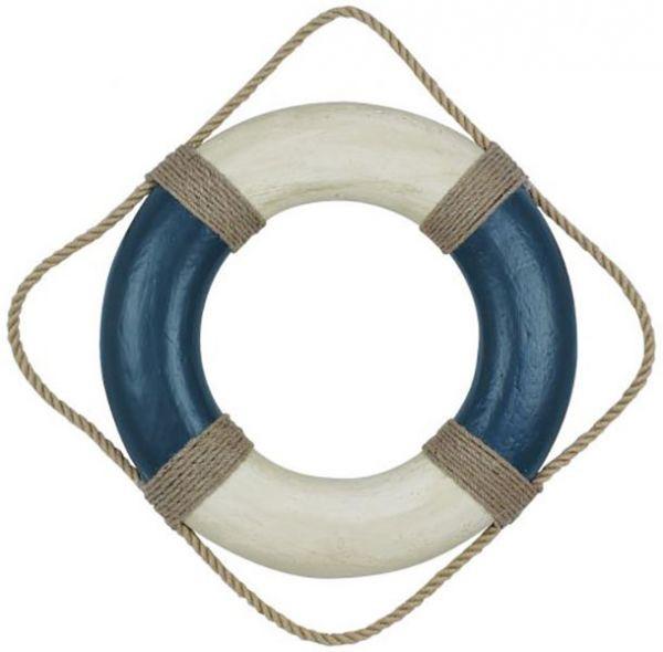 Rettungsring, blau/creme, Styropor bemalt, Ø: 49cm