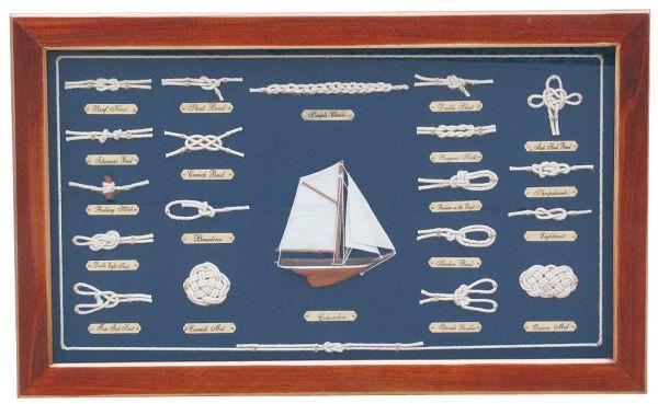 Knotentafel hinter Glas, Holz, 51x31cm - Knotennamen in ENGLISCH