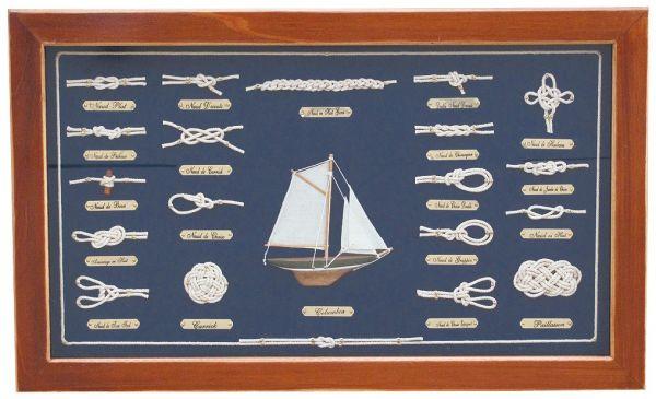 Knotentafel hinter Glas, Holz, 51x31cm - Knotennamen in FRANZÖSISCH