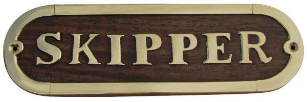 Türschild - SKIPPER, Holz/Messing, 17x5cm
