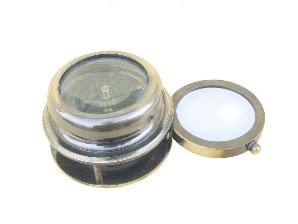 Kompass mit ausklappbarer Lupe, Messing antik, H: 4,5cm, Ø: 7/4,2cm
