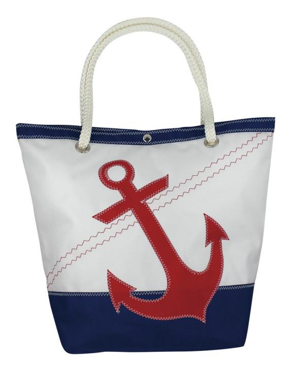 Tasche mit Ankermotiv, Polyester, weiß/blau/rot, 30/45x18x39/60cm