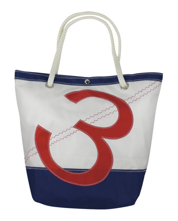 Tasche mit Zahlenmotiv, Polyester, weiß/blau/rot, 30/45x18x39/60cm