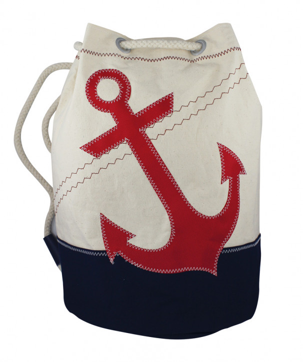 Rucksack groß mit Ankermotiv, Baumwolle, beige/blau/rot, H: 42cm, Ø 28cm