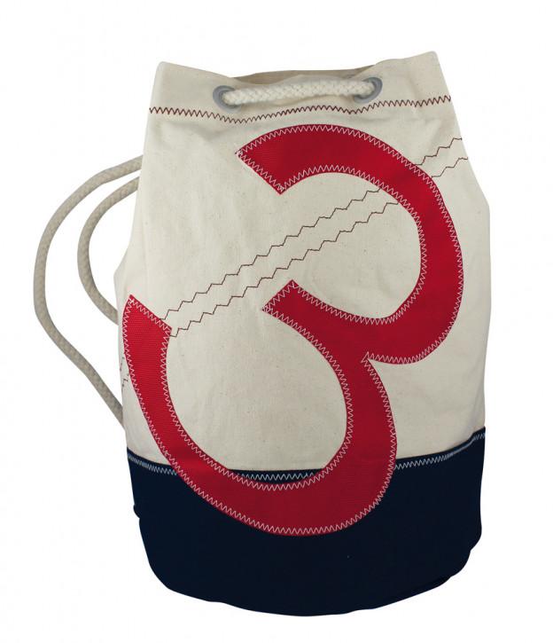 Rucksack groß mit Zahlenmotiv, Baumwolle, beige/blau/rot, H: 42cm, Ø 28cm
