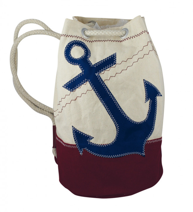 Rucksack klein mit Ankermotiv, Baumwolle, beige/weinrot/blau, H: 36cm, Ø 22cm